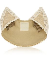 Anna Sui - Lace-trimmed Woven Straw Kitten Hat - Lyst