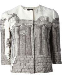 Dolce & Gabbana Temple-Print Linen Jacket gray - Lyst