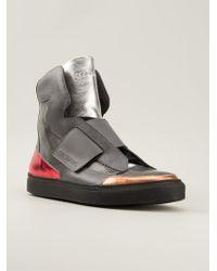 Raf Simons Metallic Accent Hi-top Sneakers - Lyst