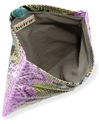 Beirn - Python Fold-Over Evening Clutch Bag - Lyst