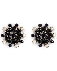 Miriam Haskell Crystal Pearl Stud Earrings - Lyst
