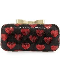 Betsey Johnson Heart Sequin Chain Clutch - Lyst