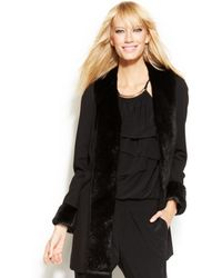 Inc International Concepts Faux Fur Trim Coat - Lyst