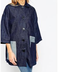 WÅVEN - Denim A Line Coat With Patch Pockets - Lyst
