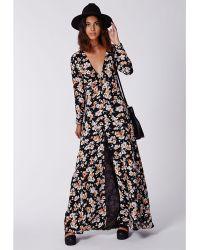 Missguided Effie Button Down Maxi Dress Floral - Lyst