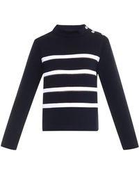 Balenciaga Funnel-Neck Striped Jersey Sweater - Lyst