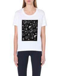 Sandro Flocked Print Cotton T-shirt - Lyst