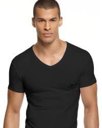 Emporio Armani Emporio Armani Eagle V-neck T-shirt black - Lyst