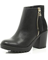 River Island Black Zip Tassel Ankle Boot - Lyst