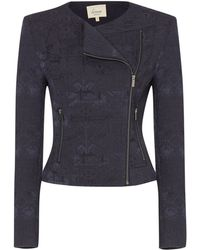 Linea Weekend - Collarless Jacquard Biker Jacket - Lyst