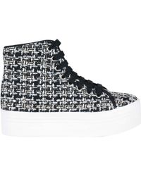 Jeffrey Campbell Sneaker Alta Donna Con Zeppa Tweed Bianconero - Lyst