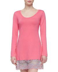 Josie Natori Essential Lacehem Sleep Shirt - Lyst