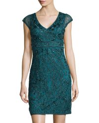 Sue Wong Cap Sleeve V-Neck Beaded Lace Sheath Dress - Lyst