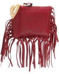 Valentino C-Rockee Scarab Fringed Leather Clutch - Lyst
