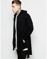 ASOS | Oversized Extreme Longline Hooded Jersey Jacket In Black | Lyst