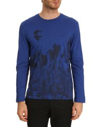 Lacoste Navy and Royal Blue Longsleeved Print Tshirt - Lyst