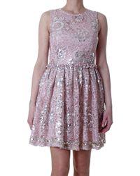 Blugirl Blumarine -Beige-Sequin-Embroidered-Lace-Dress - Lyst