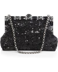 Dolce & Gabbana Large Framed Sequined Clutch with Chain - Lyst