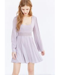 Kimchi Blue - Flower Child Long-sleeve Babydoll Dress - Lyst