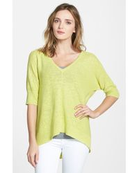 Eileen Fisher Linen & Cotton Deep V-Neck Top - Lyst
