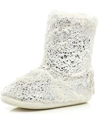 River Island Cream Foil Faux Fur Lined Boots - Lyst