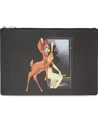 Givenchy Large Flat Leather Bambi Pouch - Lyst