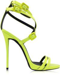 Giuseppe Zanotti Neon Yellow Leather Ankle Strap Sandal - Lyst