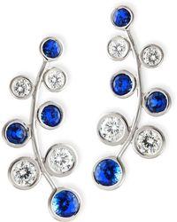 Rina Limor - 18k White Gold Vine Earrings With Diamonds & Sapphires - Lyst