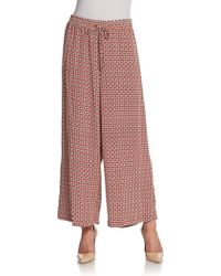 Ellen Tracy - Printed Drawstring Palazzo Trousers - Lyst