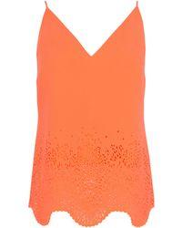 Karen Millen Laser Cut Neon Crepe Camisole Top orange - Lyst
