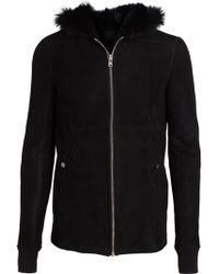 Rick Owens Black Hooded Jacket - Lyst