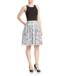 Betsy & Adam Printed Skirt Fit-And-Flare Dress - Lyst