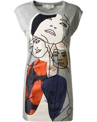 Stella McCartney Grey Cotton Tshirt with Face Embroideries - Lyst