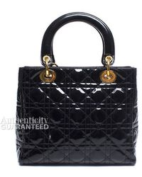 Dior Pre-Owned Patent Medium Lady Dior Bag - Lyst