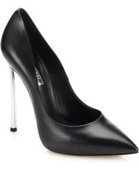 Casadei Blade Metal-Heeled Leather Pumps - Lyst