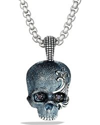 David Yurman Waves Skull Amulet with Black Diamonds and Gray Titanium On Chain - Lyst