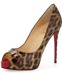 Christian Louboutin New Very Prive Leopard-print Patent Red Sole Pump - Lyst
