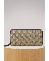 Gucci - Gg Supreme Bees Zip Around Wallet - Lyst