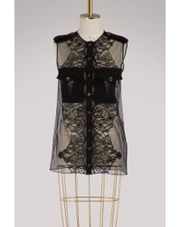 Givenchy - Short-sleeved Blouse With Lace Inserts - Lyst