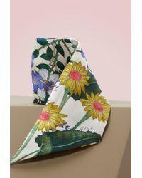 Gucci - New Flora Print Silk Neck Bow - Lyst