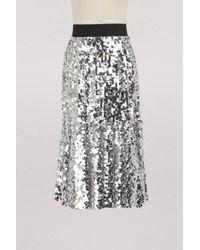 Dolce & Gabbana - Metallic Flared Midi Skirt - Lyst
