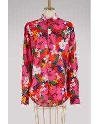 AMI - Printed Flowers Shirt - Lyst