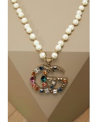 Gucci - Gg Crystal Necklace - Lyst
