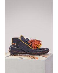 Carven | Leather Loafers With Pompoms | Lyst
