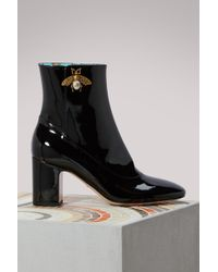 Gucci - Patent Leather Ankle Boot With Bee - Lyst