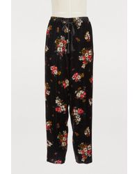 Forte Forte - Floral Print Velvet Trousers - Lyst
