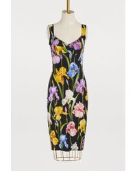 Dolce & Gabbana - Iris Printed Silk Dress - Lyst
