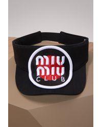 Miu Miu - Visière en jean à logo - Lyst
