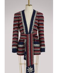 Gucci - Marine Striped Bouclé Jacket With Belt - Lyst