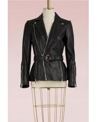 Alexander McQueen - Belted Leather Jacket - Lyst